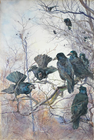 Mildred Anne Butler (Irish, 1858-1941) A murder of crows 98 x 66 cm. (38 1/2 x 26 in.)
