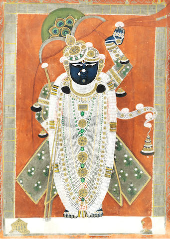 Krishna as Sri Nath-Ji in a temple alcove Nathdwara, Kotah, mid-19th Century