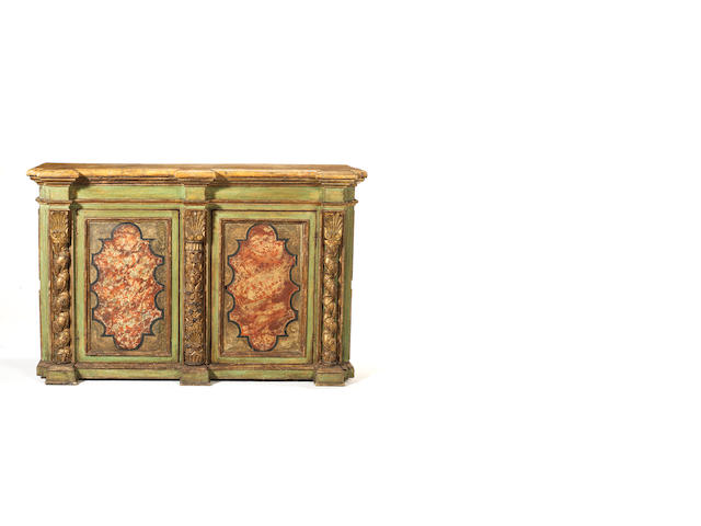 An Italian parcel-gilt and polychrome decorated breakfront meuble à hauteur d'appui  part 19th century, re-decorated