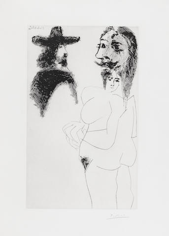 Pablo Picasso (Spanish, 1881-1973) Beau Gentilhomme Espagnol et femme à barbe  Etching, 1968, signed in pencil, 323 x 195mm (12 3/4 x 7 5/8in)(PL)  should be numbered from the edition of 50 there were also 17 aps for further research