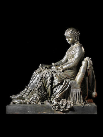 Hippolyte Moreau (French 1832-1927) A life-size bronze of a seated girl Emma Bierne