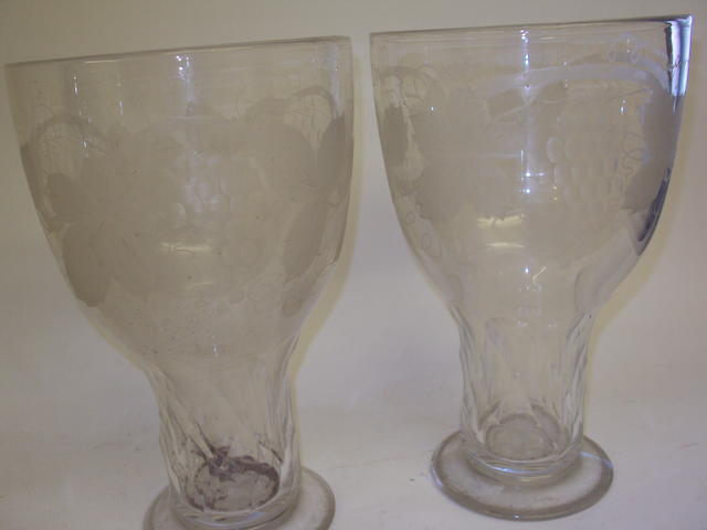 A pair of 19th century engraved glass vases