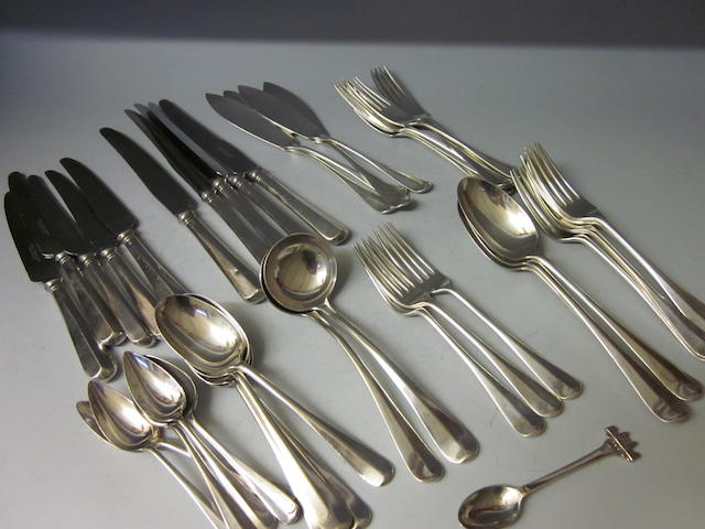 A composite canteen of silver rat-tail pattern flatware and cutlery,  London 1939,   (41)