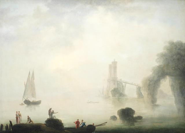 Francesco Fidanza (Rome 1747-1819 Milan) Fishermen on a shore, in a Mediterranean coastal landscape