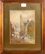 E. Nevil A set of four Continental city views comprising 'Bruges', 'Ghent', 'Brussells' and 'Lourain'