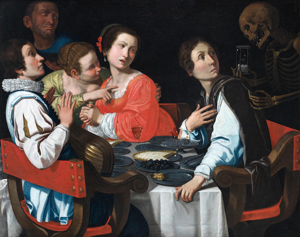 Workshop of Giovanni Martinelli (Montevarchi, Arezzo before 1604-1659 Florence) Death comes to the dinner table