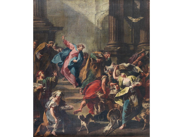 Giovanni Battista Pittoni (Venice 1687-1767) Christ and the moneylenders