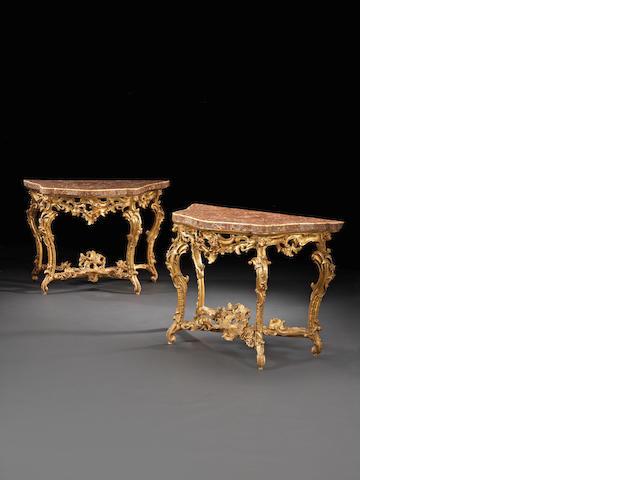 A fine pair of Roman 18th century giltwood Rococo consoles
