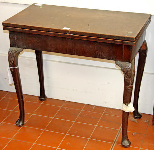A George III style fold-over mahogany tea table,