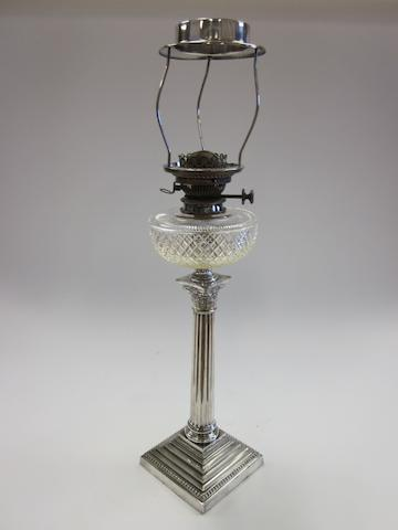 An nineteenth century electroplated oil lamp,  by Hawksworth Eyre and Co.,