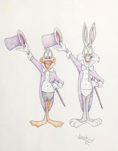 Virgil Ross: drawings of Bugs Bunny and Daffy Duck,