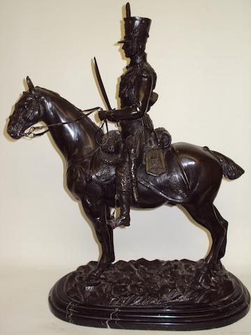 After John Rattenbury Skeaping, RA (British, 1901 - 1980): A bronze-effect study of a mounted cavalry officerSigned 'J. R. Skeaping' to base