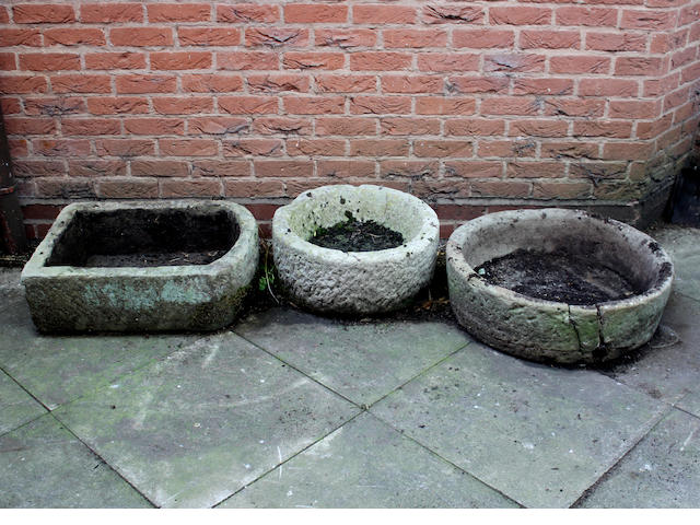 A 19th century circular stone trough