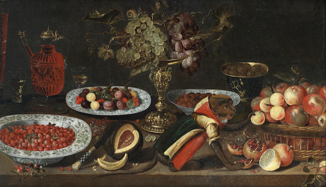 Artus Claessens (Antwerp circa 1600-1644) Still life with monkey