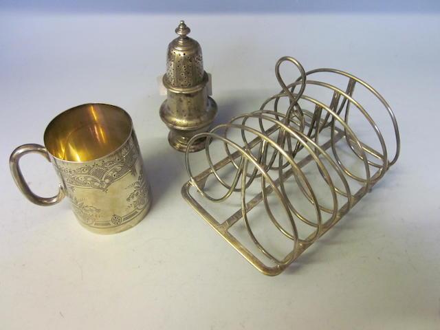 A George III silver toast rack,  maker W S, London 1802  (3)