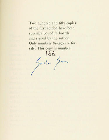 GREENE (GRAHAM) The Return of A.J. Raffles, NUMBER 166 OF 250 COPIES SIGNED BY THE AUTHOR, 1975; and 8 others (9)