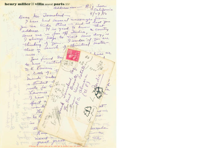 MILLER (HENRY) 3 autograph letters, 1950-1952; and others (small quantity)