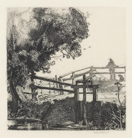 Graham Sutherland O.M. (British, 1903-1980) The Sluice Gate Etching, 1924, on japan, with wide margins, signed in pencil, from an edition of 69, published by Twenty-One Gallery, London, 135 x 130mm (5 1/4 x 5 1/8in)(PL)
