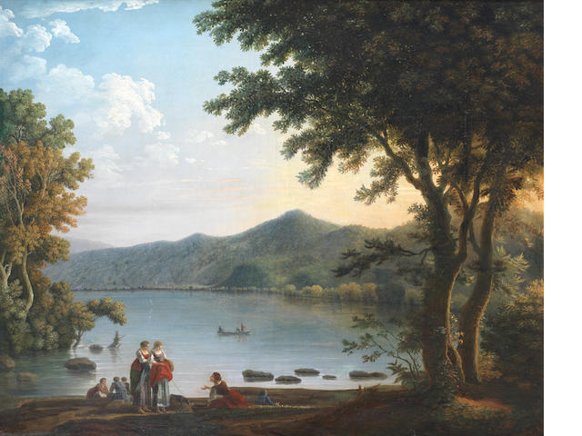 Carlo Labruzzi (Rome 1748-1817 Perugia) Washerwomen conversing before a lake in an Italianate landscape
