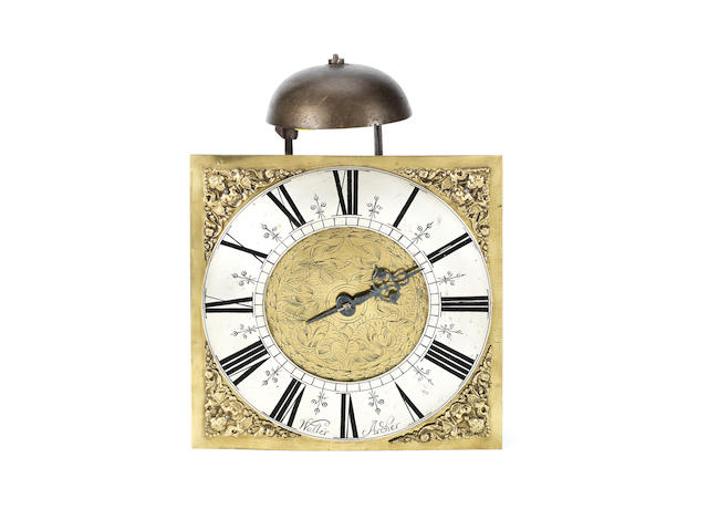An early 18th century brass hook and spike wall clock Walter Archer