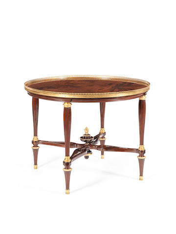 A French late 19th century Louis XVI style ormolu mounted mahogany guéridon by Durand fils, Paris