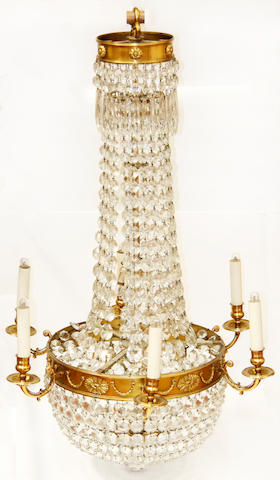 A 19th Century style faceted glass and brass six branch ceiling light