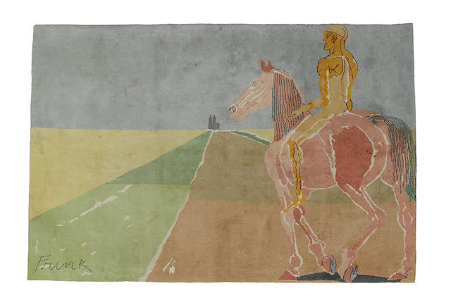 Dame Elisabeth Frink R.A. (British, 1930-1993) On the road to Chartres Tapestry rug, 1983, wool, from the edition of 30, 2780 x 1860mm (109 1/2 x 73 1/4in)(Overall)