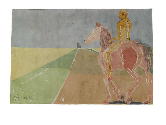 Dame Elisabeth Frink R.A. (British, 1930-1993) Horse and Rider (Wiseman p.245) Limited edition wool rug, from the edition of 25, 2780 x 1860mm (109 1/2 x 73 1/4in)