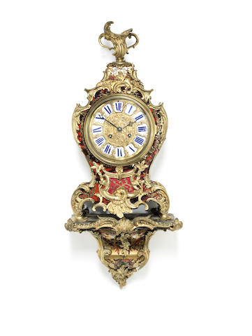 A good mid 19th century boulle work bracket clock with original wall bracket Lenoir, Paris