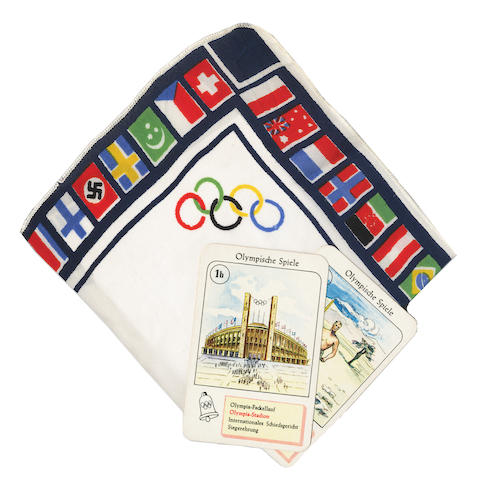 SILK SCARF A silk scarf with the Olympic rings and showing the flags of all of the participating nations