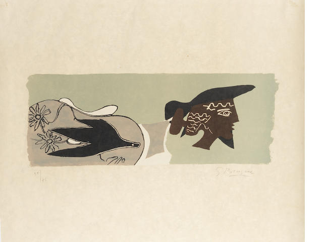 Georges Braque (French, 1882-1963) Cinq poésies en hommage à Georges Braque  Lithograph, printed in colours, 1958, on japan nacree, signed and numbered from 35/75 in pencil, published by Edwin Engelberts, Geneva, printed by Mourlot, Paris, 555 x 705mm (21 5/8 x 27 3/4in)(SH)  unframed