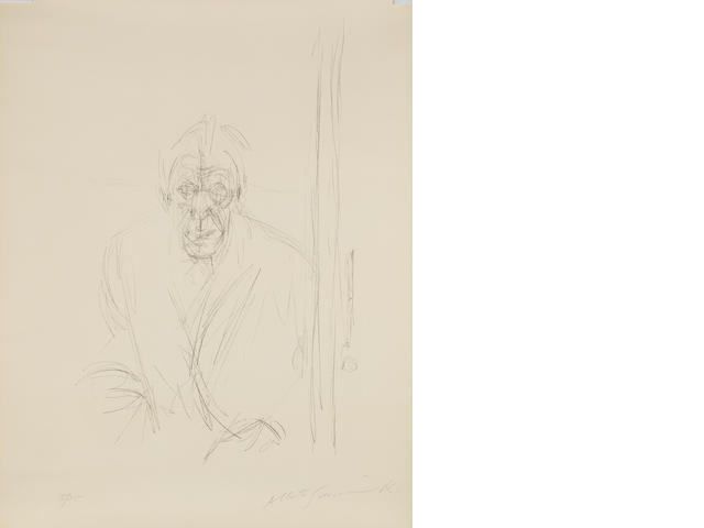 Alberto Giacometti (Swiss, 1901-1966) Auto-portrait Lithograph, 1965, on BFK Rives, the full sheet, signed and numbered 5/75 in pencil, published by Maeght, Paris, 650 x 505mm (25 x 19 7/8in)(SH)   unframed
