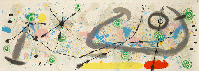 "Joan Miro (Spanish, 1893-1983) Le lézard aux plumes d'or Lithograph, 1967, printed in colours, plate 8 from the series, on wove, the full sheet, watermarked ""Miro"", signed and numbered 49/100 in pencil, with the Orangerie blindstamp lower left corner, 355 x 993mm (14 x 39 1/8in)(SH) unframed"