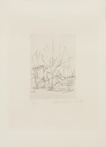 Alberto Giacometti (Swiss, 1901-1966) L'Arbre from Feuilles éparses by René Crevel Etching, 1965, signed and numbered 14/50 in pencil, on BFK Rives, the full sheet, 165 x 120mm (6 1/2 x 4 3/4in)(PL) unframed