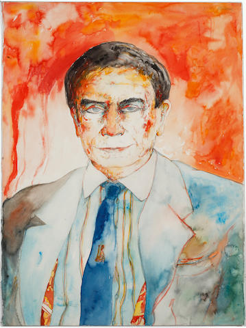 John Bellany (British, born 1942) 'Roy Calne' signed and inscribed top right/left, watercolour,  74 x 55cm (29 1/8 x 21 5/8in). unframed.