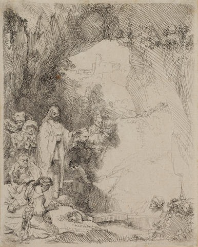 Rembrandt Harmensz van Rijn (Dutch, 1606-1669) Raising of Lazarus Etching