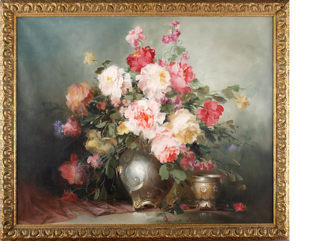 Continental School, 20th Century Still life of peonies in a vase