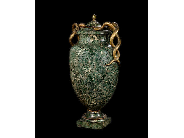 A large Roman early 19th century ormolu-mounted Green marble vase and cover