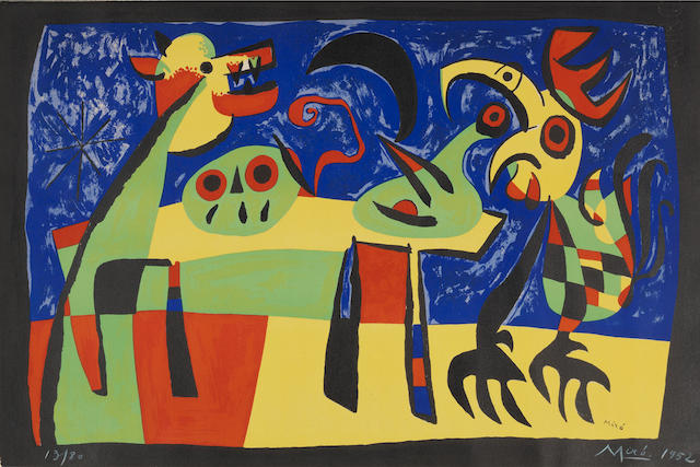 Joan Miro (Spanish, 1893-1983) Le Chien aboyant à la lune Lithograph printed in colours, 1952, on Arches, signed and numbered 13/80 in white crayon, published by Teriade, Paris, the full sheet with the deckle edge along the right side, 365 x 545mm (14 3/8 x 21 1/2in)(SH) unframed