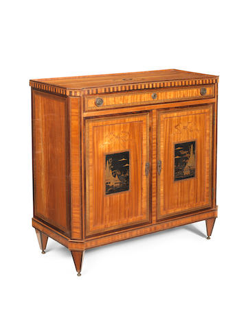 A Dutch 19th century mahogany, satinwood, amaranth, marquetry and Japanese lacquer cabinet