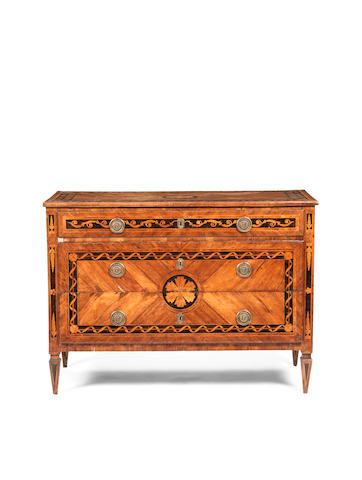 An Italian 18th century fruitwood, tulipwood and parquetry commodein the manner of Giuseppe Maggiolini, possibly dated 1758