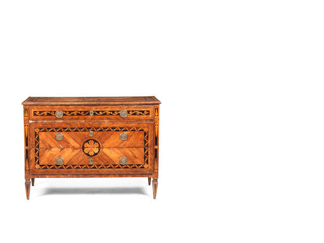 An Italian 18th century fruitwood, tulipwood and parquetry commode in the manner of Giuseppe Maggiolini, dated 1738