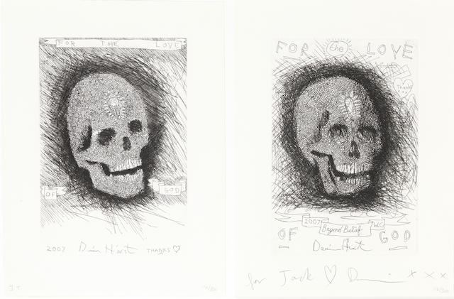 Damien Hirst (British, born 1965) For the Love of God; Beyond Belief Two etchings with aquatint, 2007, each on wove, the right etching signed and inscribed 'for Jack love Damien XXX' in pencil, the left etching inscribed 'J.T' in pencil, each etching numbered 116/300 in pencil, 250 x 173mm (9 3/4 x 6 7/8in)(each plate)(2)