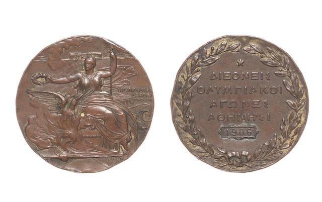 1906 Olympics Athens, commemorative medal Nikephoros Lytras (1832-1904)