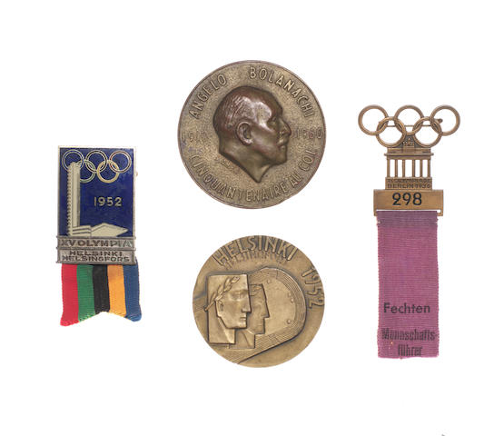 1936 Berlin Olympics participant's badge, 1952 Helsinki Olympics participant's medal, Official's badge and Angelo Bolanachi medal