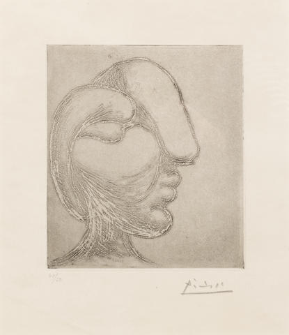 Pablo Picasso (Spanish, 1881-1973) Tête de femme (Bloch 256) etching, 1933, on laid, signed and numbered 40/50 in pencil,  published by Galerie Louise Leiris, Paris, 1961, with margins,