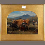 Aster Carboulet (19th Century) Highland cattle drover signed, oil, 23cm x 30cm; with a bust length profile portrait of a gentleman, watercolour, signed and dated Aster Carboulet, 185?, oval gilt mount, 14cm x 11cm; together with two bust length profile portraits of ladies, by Walter Carboulet, after Aster Carboulet, one signed and dated 1848, oval gilt mounts, both 15cm x 11cm (4)