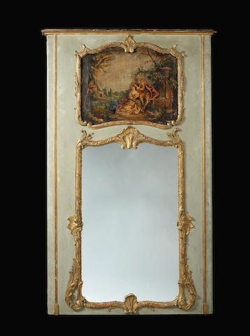 A French late 19th century gilt and painted wood Louis XV style trumeau mirror