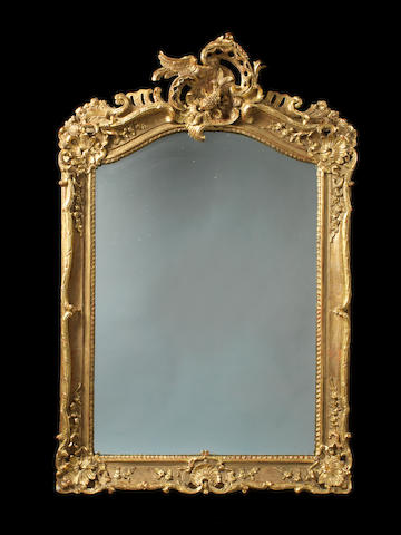 A French Louis XV giltwood mirror