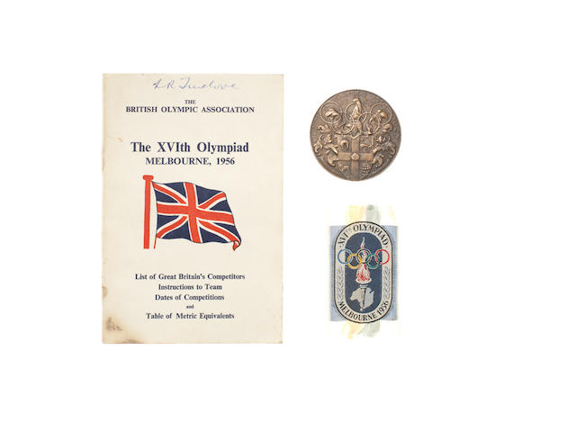 1956 Melbourne Olympics participant's medal, hand signed competitors booklet and cloth badge